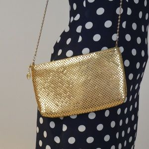 Vintage Bags - ‼️$20 SALE‼️ VTG Flashy 80s Gold Clutch Crossbody